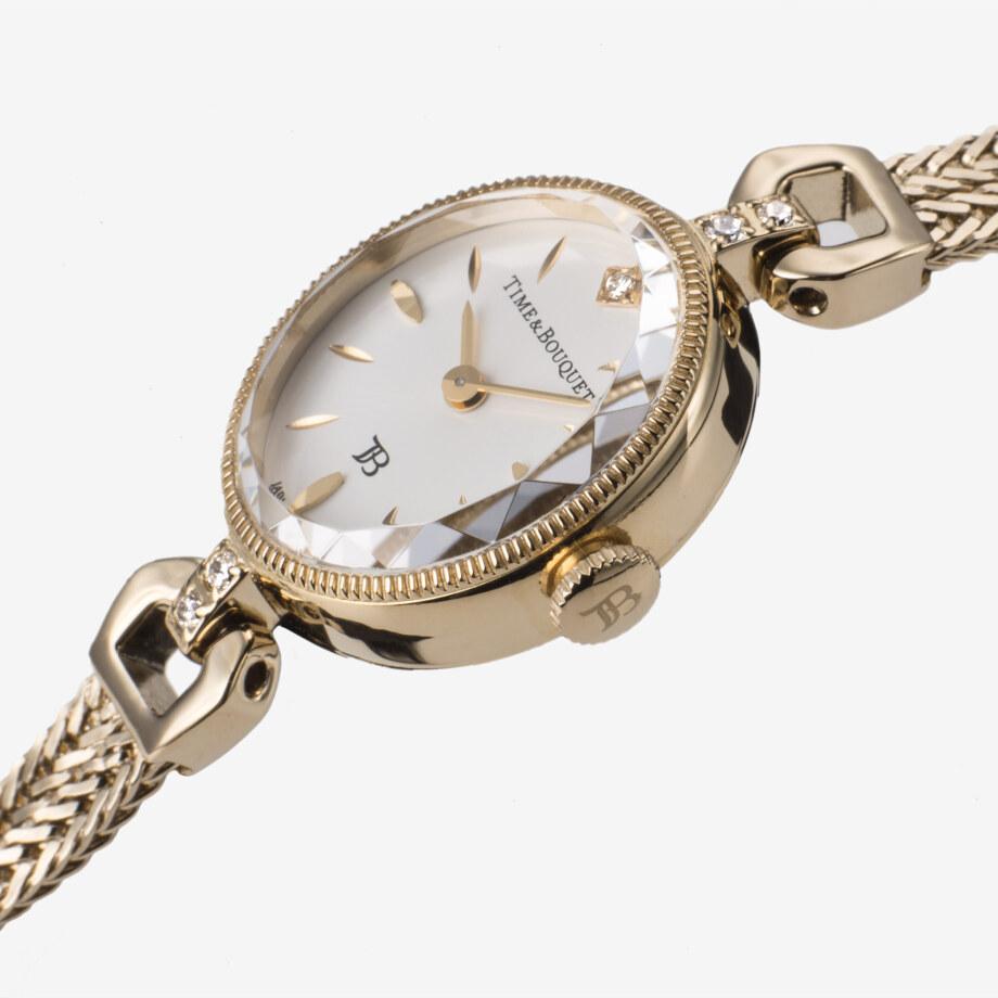 味わい深いアンティークのような雰囲気の細縁ケース - Muguet(ミュゲ): すずらんをモチーフにしたブレスレット型腕時計