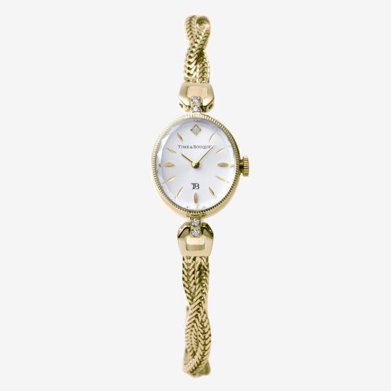 正面 - Muguet(ミュゲ): すずらんをモチーフにしたブレスレット型腕時計(シャンパンゴールド色)