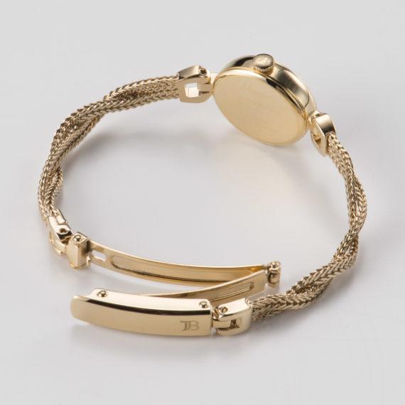 ブレスレットに合わせた、6ミリ幅のスリムな三つ折れ中留 - Muguet(ミュゲ): すずらんをモチーフにしたブレスレット型腕時計