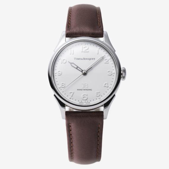 ダークブラウンの革バンド - Nel(ネル): フランネルフラワーをモチーフにした機械式腕時計