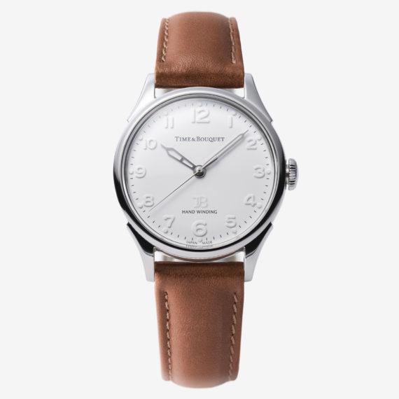 ライトブラウンの革バンド - Nel(ネル): フランネルフラワーをモチーフにした機械式腕時計