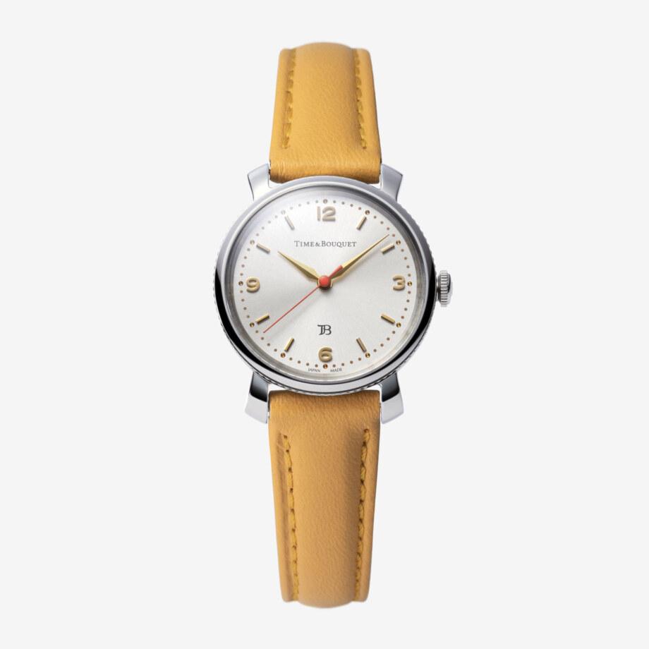 Coquericot正面: ひなげしをモチーフにした腕時計(キャメル))