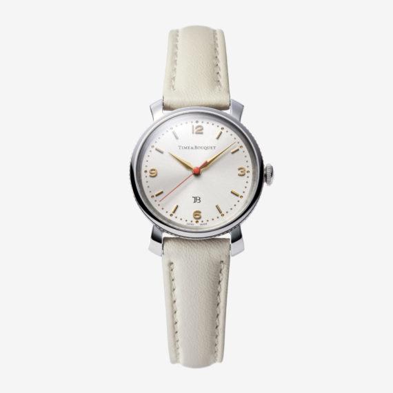 Coquericot正面: ひなげしをモチーフにした腕時計(アイボリー)