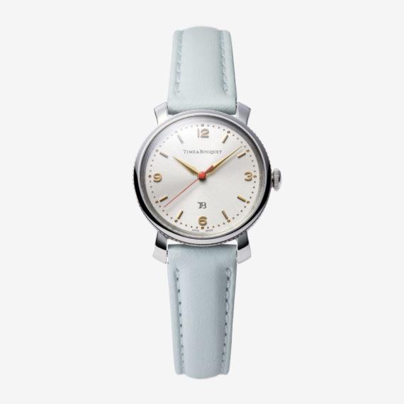 Coquericot正面: ひなげしをモチーフにした腕時計(ミントブルー)