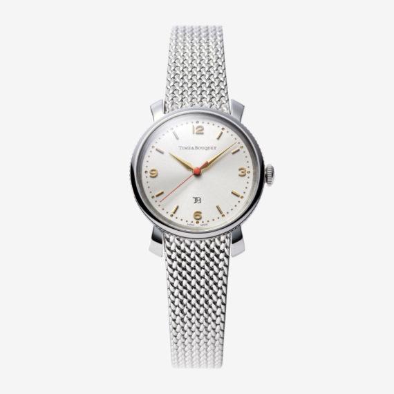 Coquericot正面: ひなげしをモチーフにした腕時計(ステンレス色)