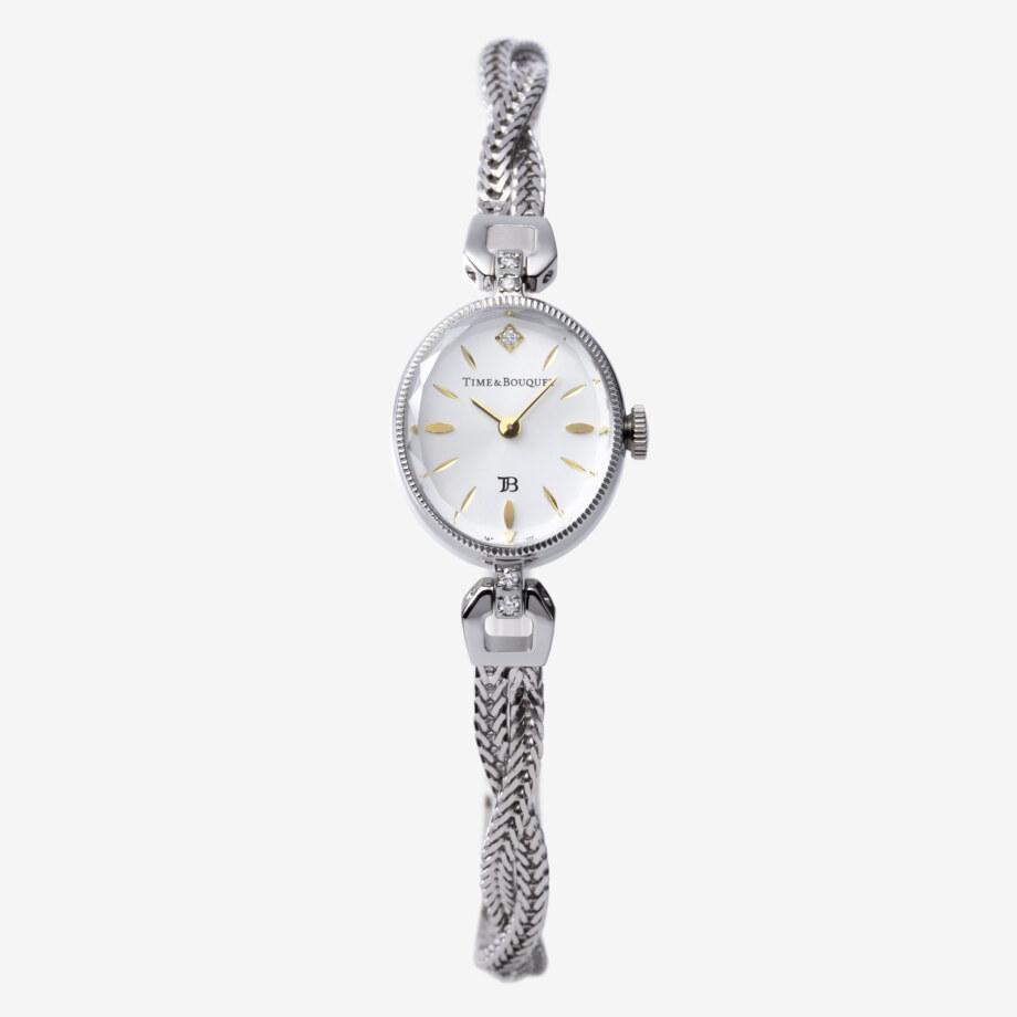 正面 - Muguet(ミュゲ): すずらんをモチーフにしたブレスレット型腕時計(ステンレス色)