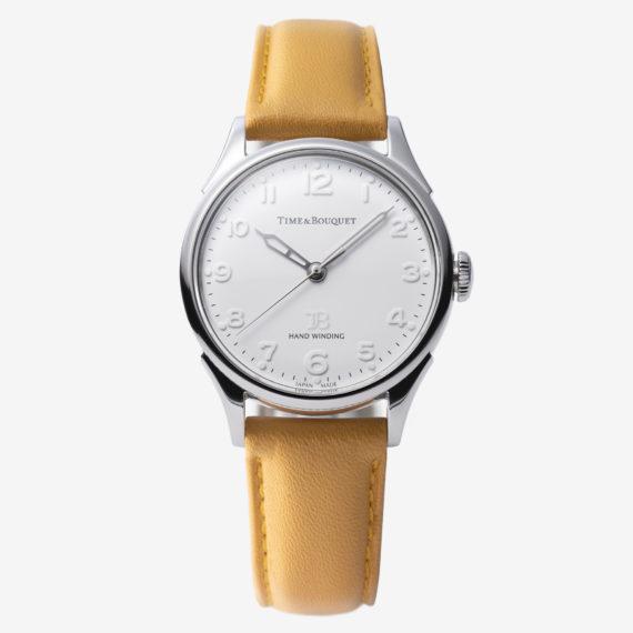 キャメルの革バンド - Nel(ネル): フランネルフラワーをモチーフにした機械式腕時計