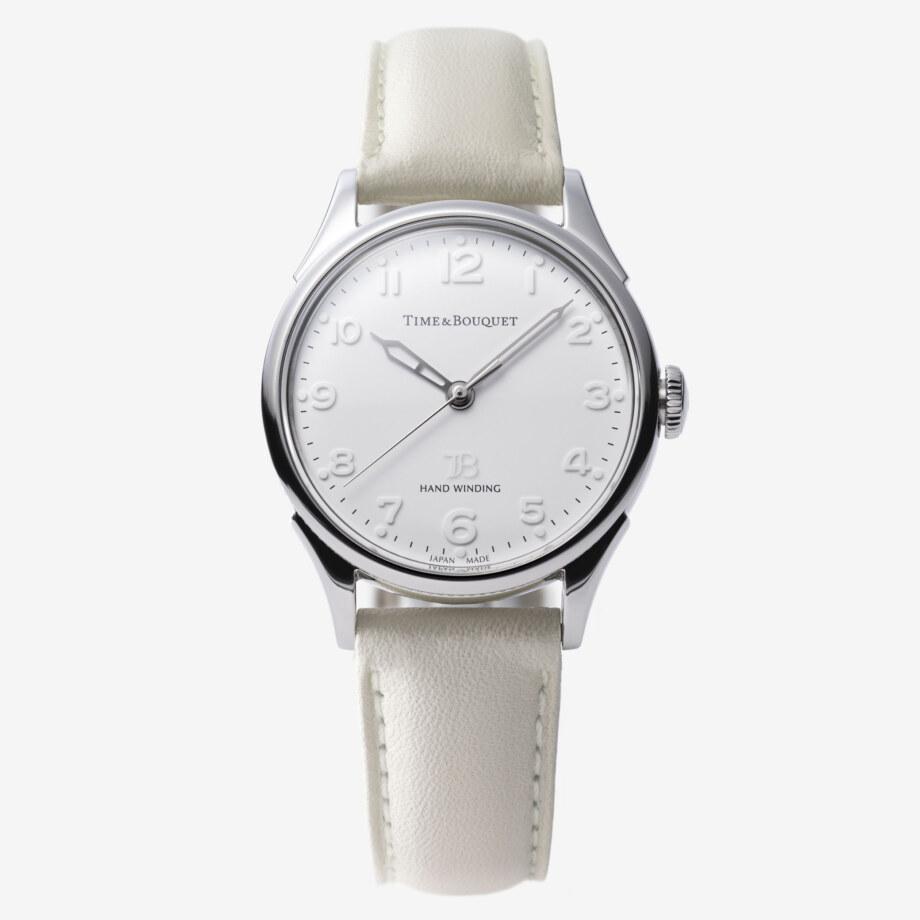 ベージュの革バンド - Nel(ネル): フランネルフラワーをモチーフにした機械式腕時計