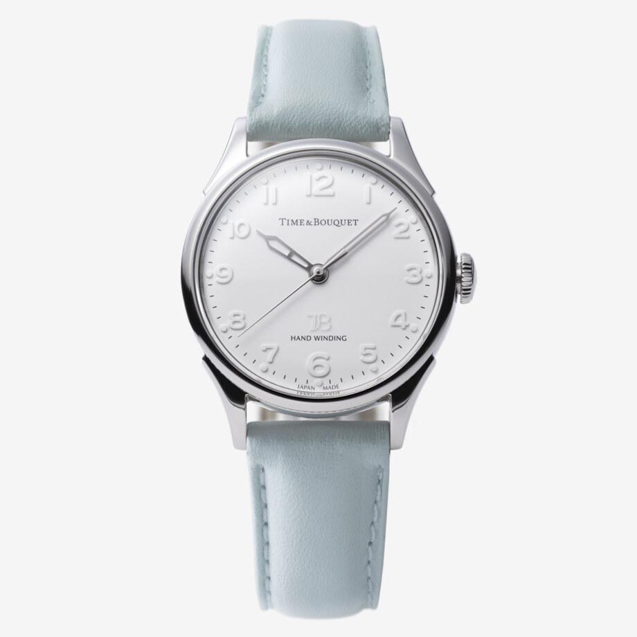 ミントブルーの革バンド - Nel(ネル): フランネルフラワーをモチーフにした機械式腕時計