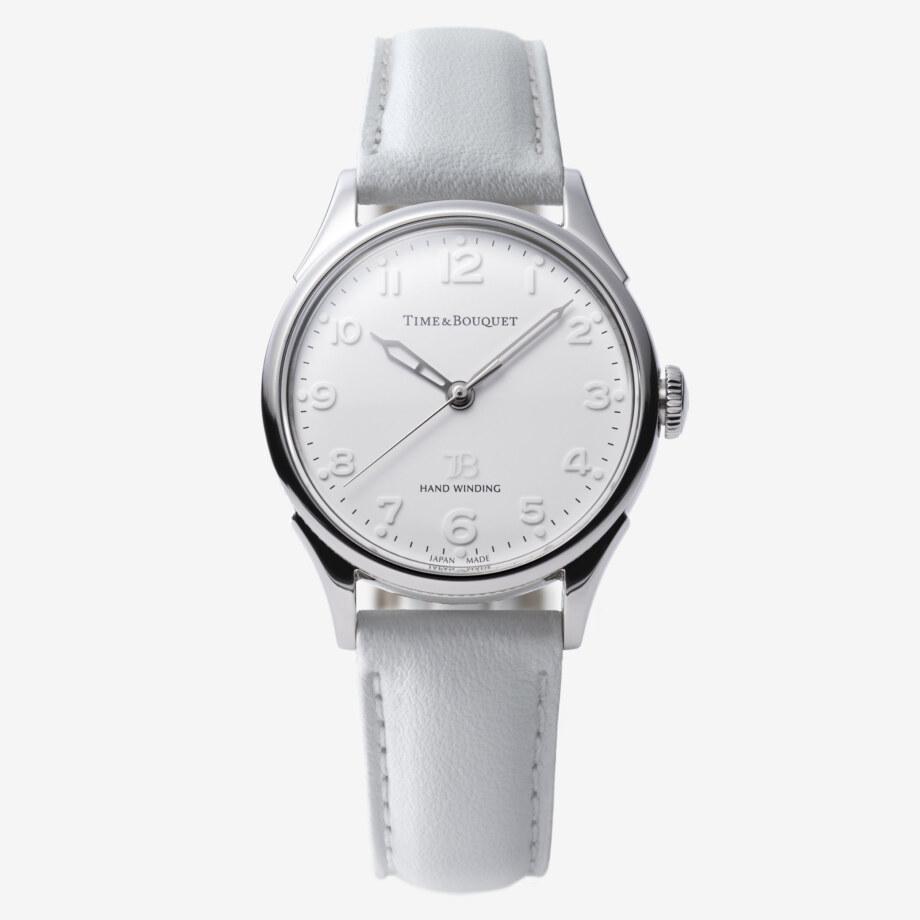 ホワイトの革バンド - Nel(ネル): フランネルフラワーをモチーフにした機械式腕時計