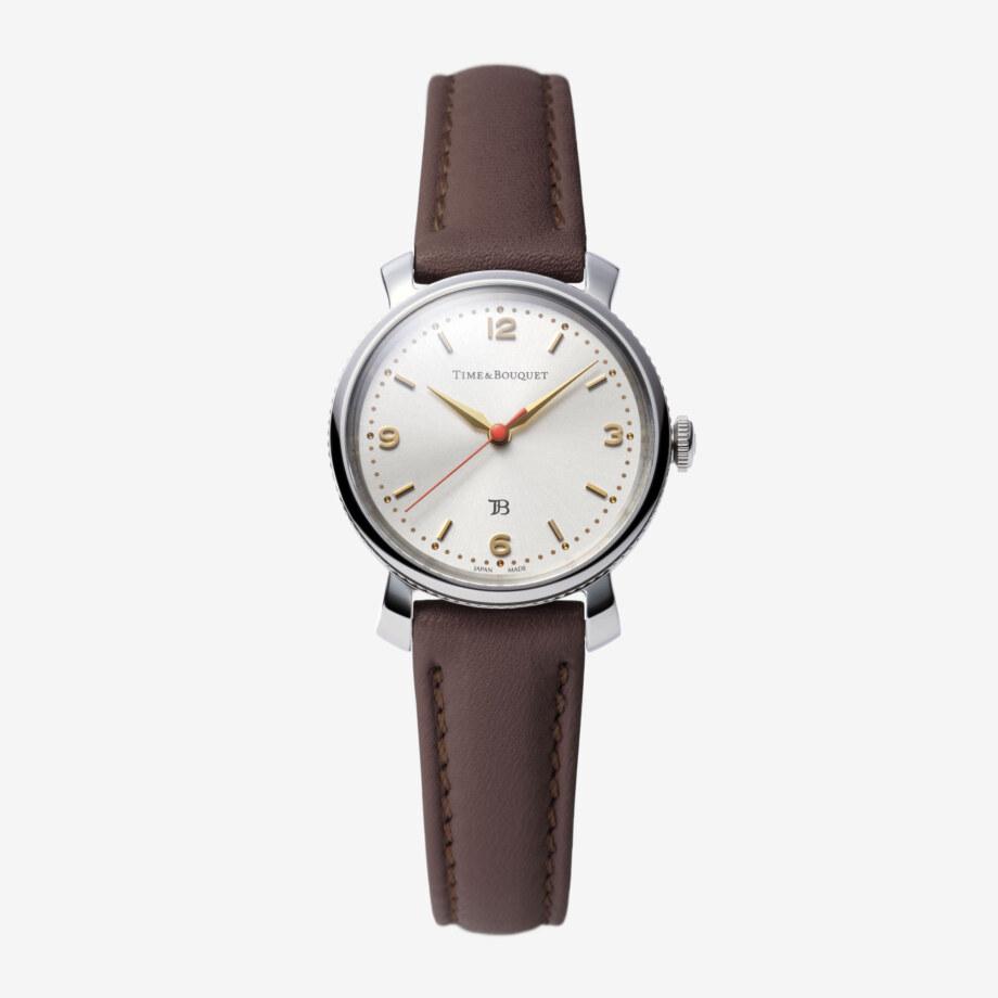 Coquericot正面: ひなげしをモチーフにした腕時計(ダークブラウン)