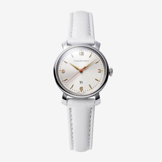 Coquericot正面: ひなげしをモチーフにした腕時計(ホワイト)